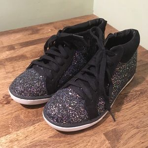 Justice Girls black glitter hightop sneakers, sz 4